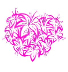 pink lily heart vector image