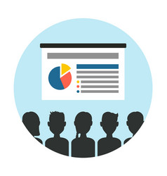 Presentation slide with audience circle vector