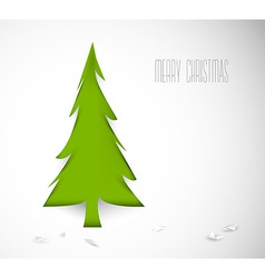 Simple christmas tree cut out from white paper vector image