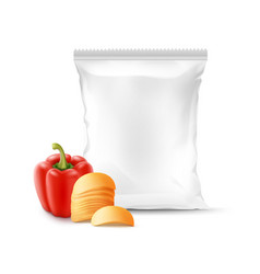 stack of potato chips with paprika and foil bag vector image vector image