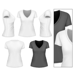 Womens v-neck t-shirt vector image