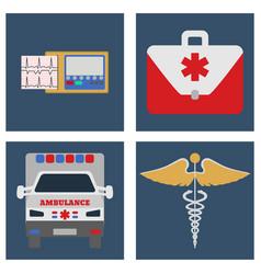 ambulance car ecg medical bag and sign icon vector image vector image