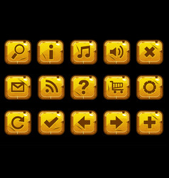 cartoon square gold old buttons vector image vector image
