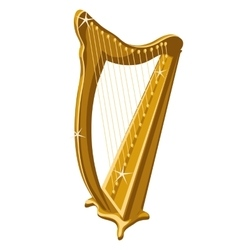 Classic gold sparkle harp cartoon style vector image