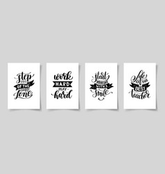 set of four hand written lettering positive vector image vector image