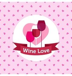 wine shop or bar logo design with hearts vector image vector image