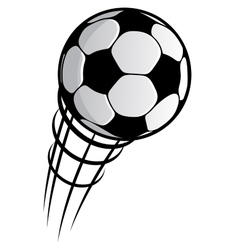 Cartooned flying soccer ball with motion trails vector image vector image