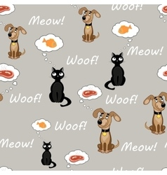 Cat and dog pattern vector image vector image