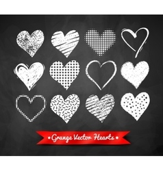 chalked Valentine hearts vector image