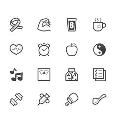 healthy element black icon set on white background vector image vector image