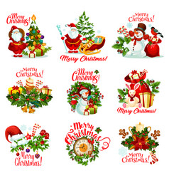christmas gift icon for new year holiday card vector image vector image