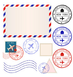 international mail envelope with collection of vector image vector image
