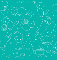 seamless pattern with hand drawn cats blue vector image vector image