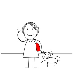 Stick figure girl with dog vector image vector image