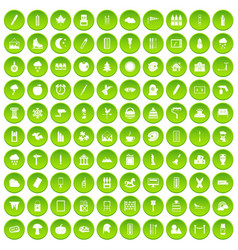 100 drawing icons set green circle vector