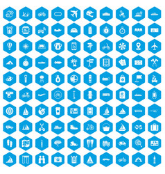 100 voyage icons set blue vector