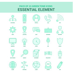 25 green essential element icon set vector image
