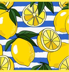 Allover lemons on blue torn stripe vector