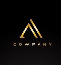 Alphabet letter A gold golden luxury logo vector