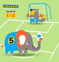 animals soccer league cartoon cartoon vector image