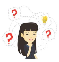 Asian businesswoman having business idea vector