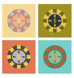 Assembly flat icons poker roulette casino vector