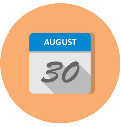 August 30th date on a single day calendar vector