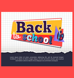 Back to school posteron on checkered background vector