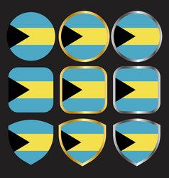 Bahamas flag icon set with gold and silver border vector