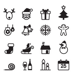 basic christmas icons set vector image