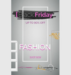 black friday fashion sale banner template vector image