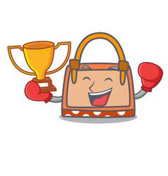 boxing winner hand bag mascot cartoon vector image