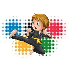 Boy in black karate uniform vector image