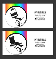 brush and spray gun in hand painter business vector image