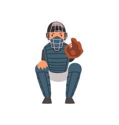 catcher waiting for ball baseball player vector image