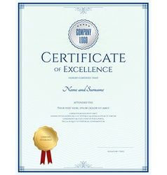 Certificate of excellence template with gold seal vector