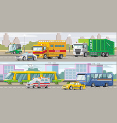 city transport horizontal banners vector image