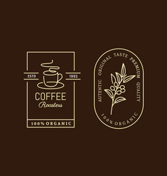coffee label on dark background in neon style vector image
