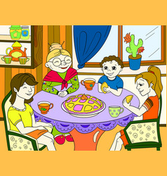 Color grandmother is sitting at the table vector