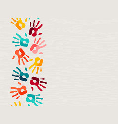 Color human hand print background concept vector