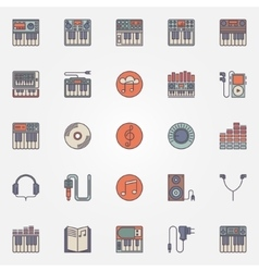 Colorful synthesizer icons vector image