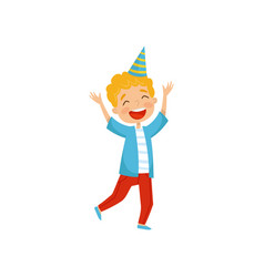 cute boy in party hat having fun at birthday party vector image