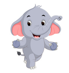 Cute elephants cartoon vector