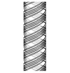 Cylindrical tire track silhouette vector