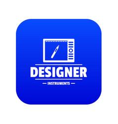 Designer shop icon blue vector