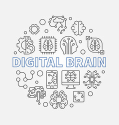 Digital brain concept round vector