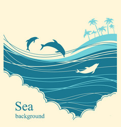 Dolphins in blue sea waveseascape horizon vector