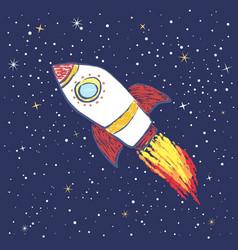 Doodle rocket in space vector