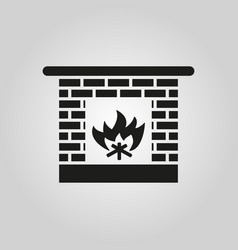 Fireplace icon hearth and chimney fire vector