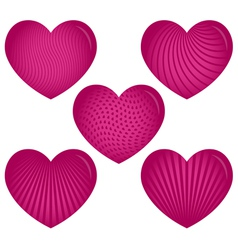 Five Pink Hearts with Patterns vector image